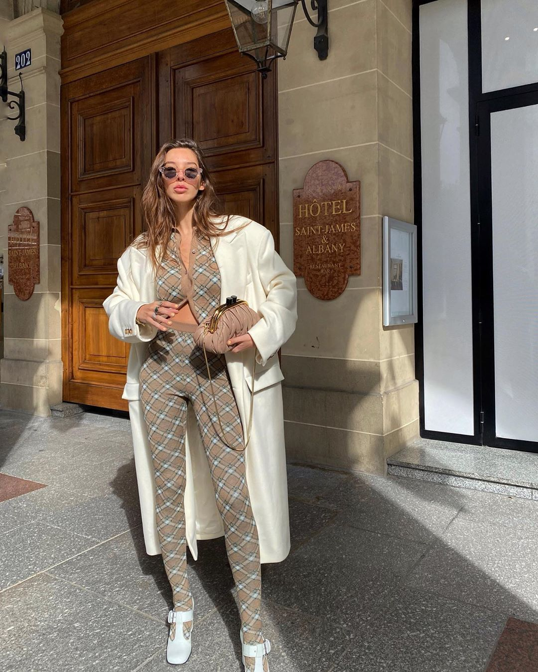 estelle-chemouny-miu-miu-checked-wool-outfit-paris-street-style
