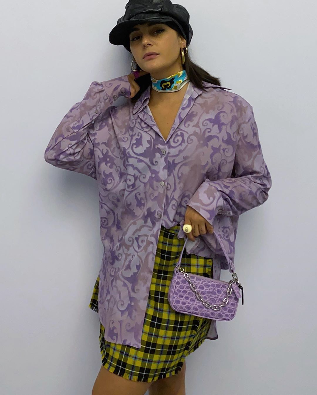 maria-bernad-acne-studios-floral-print-shirt-by-far-rachel-mini-croc-embossed-leather-lilac