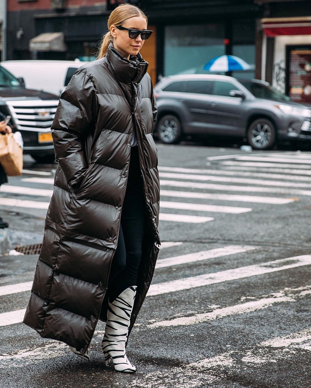 pernille-teisbaek-rains-convertible-quilted-padded-glossed-shell-coat-brown-instagram