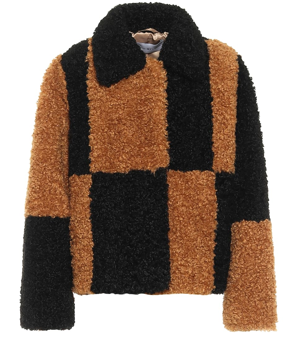 stand-studio-marcella-checked-faux-shearling-jacket