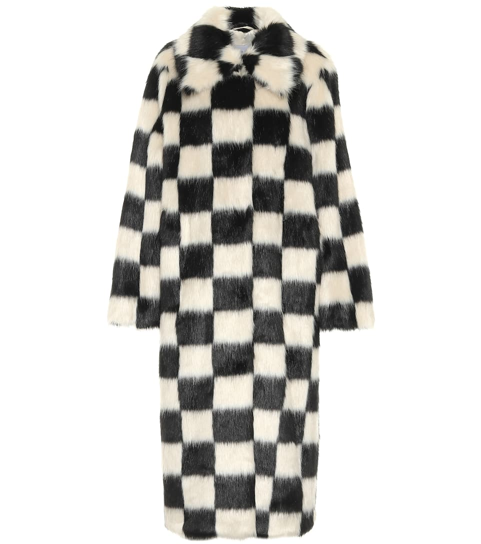 stand-studio-nino-checked-faux-fur-coat-white-black