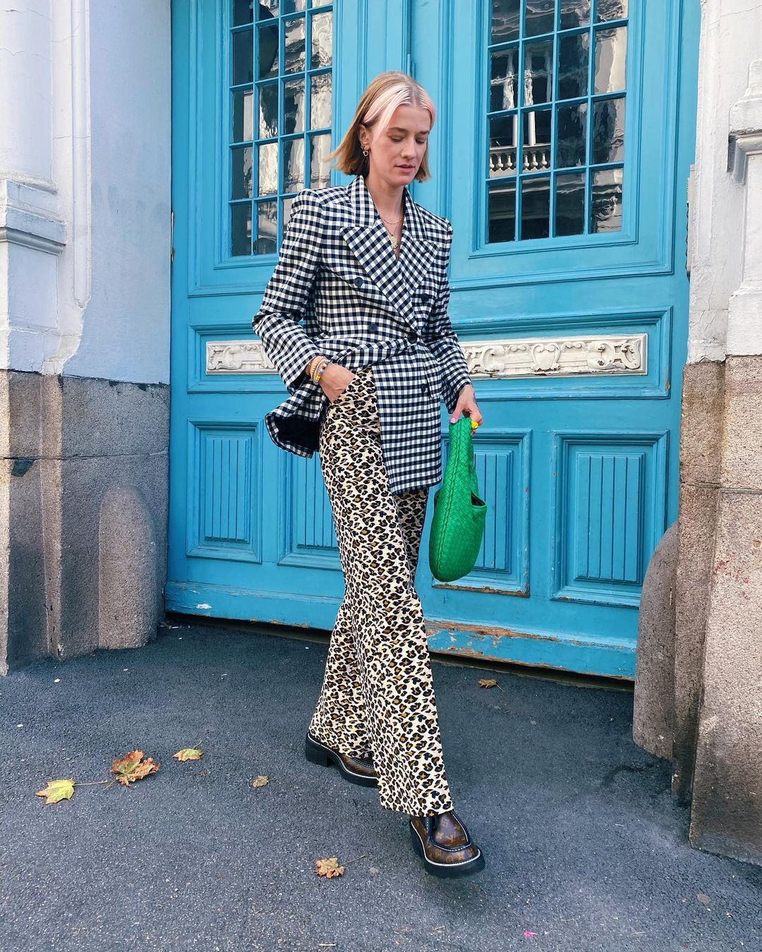 marianne-theodorsen-balenciaga-vichy-hourglass-double-breasted-checked-jacket-instagram