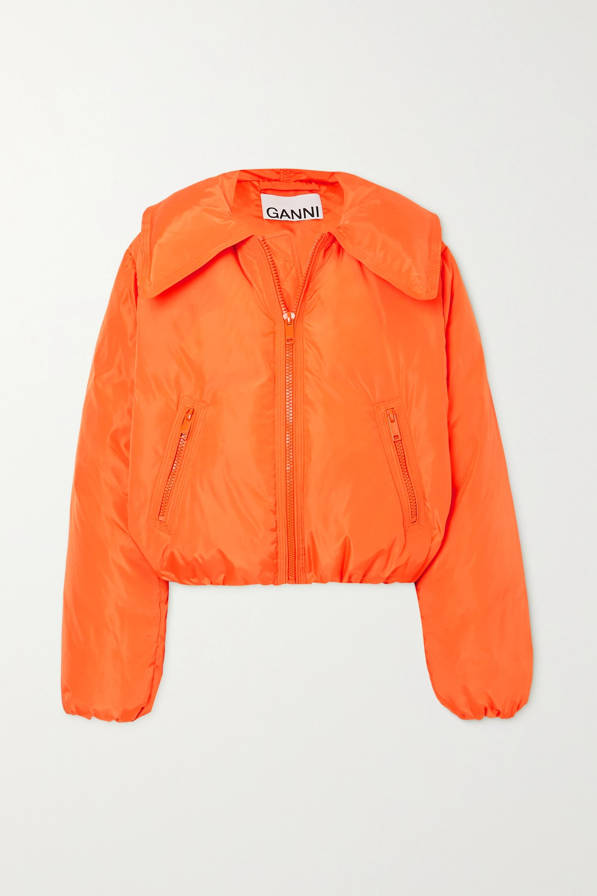 ganni-cropped-quilted-shell-down-jacket-orange