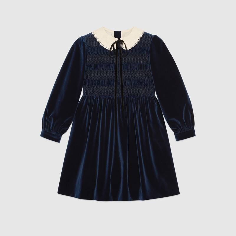gucci-petit-velvet-dress-with-bow-brooch-blue