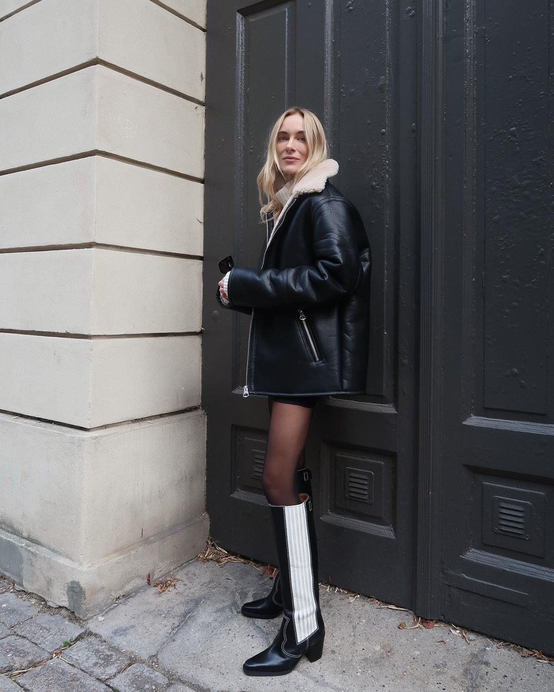 marie-hindkaer-hm-faux-shearling-lined-jacket-instagram