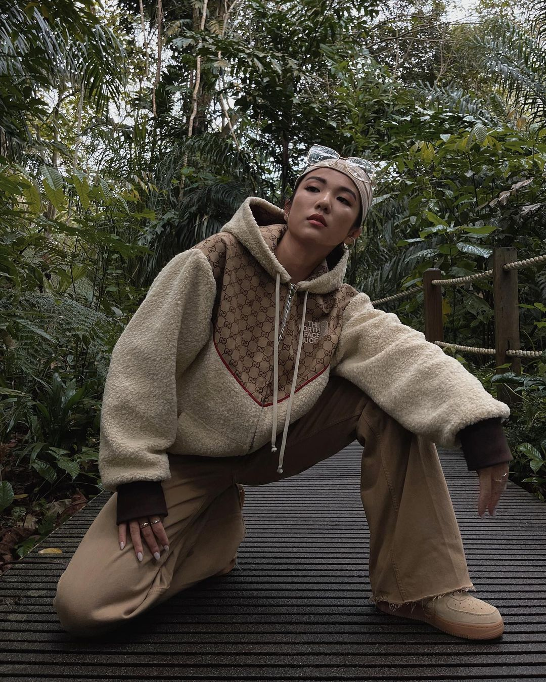 yoyo-cao-the-north-face-x-gucci-gg-canvas-and-shearling-jacket-instagram
