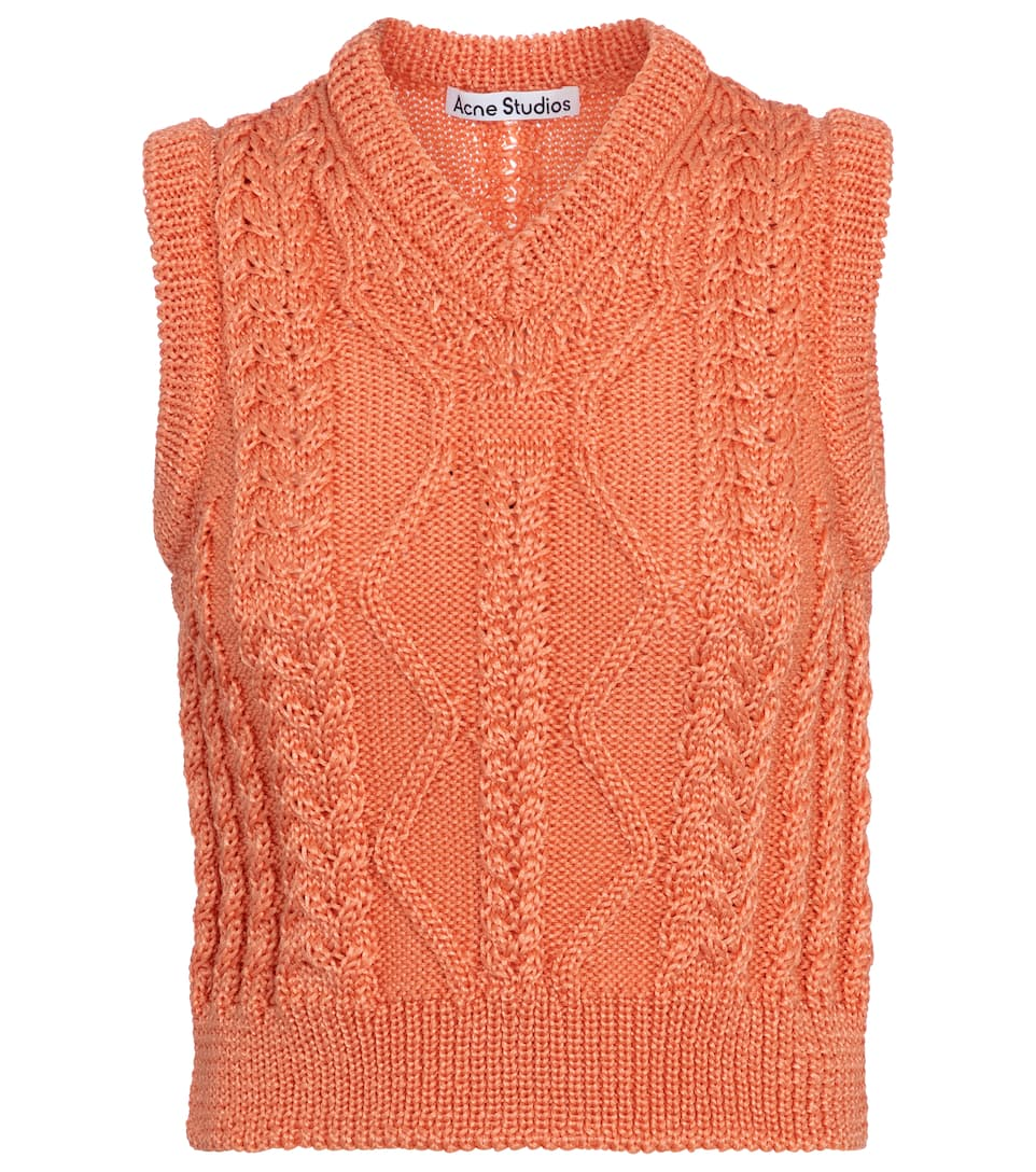 acne-studios-cable-knit-sweater-vest-orange