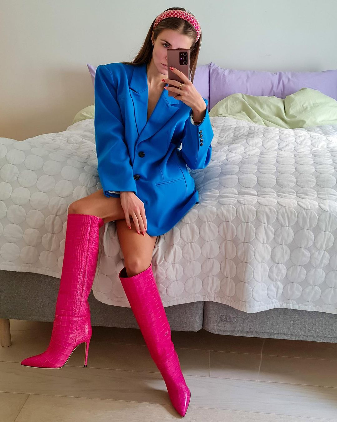nina-sandbech-paris-texas-croc-embossed-leather-boots-pink-instagram