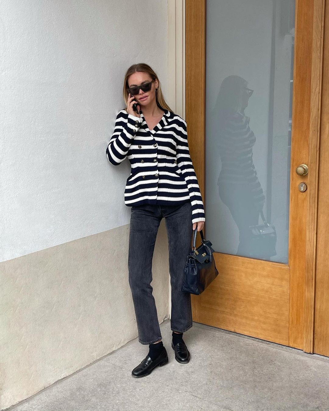 claire-rose-cliteur-dior-knitted-double-breasted-bar-jacket-with-stripes-black-and-white-instagram