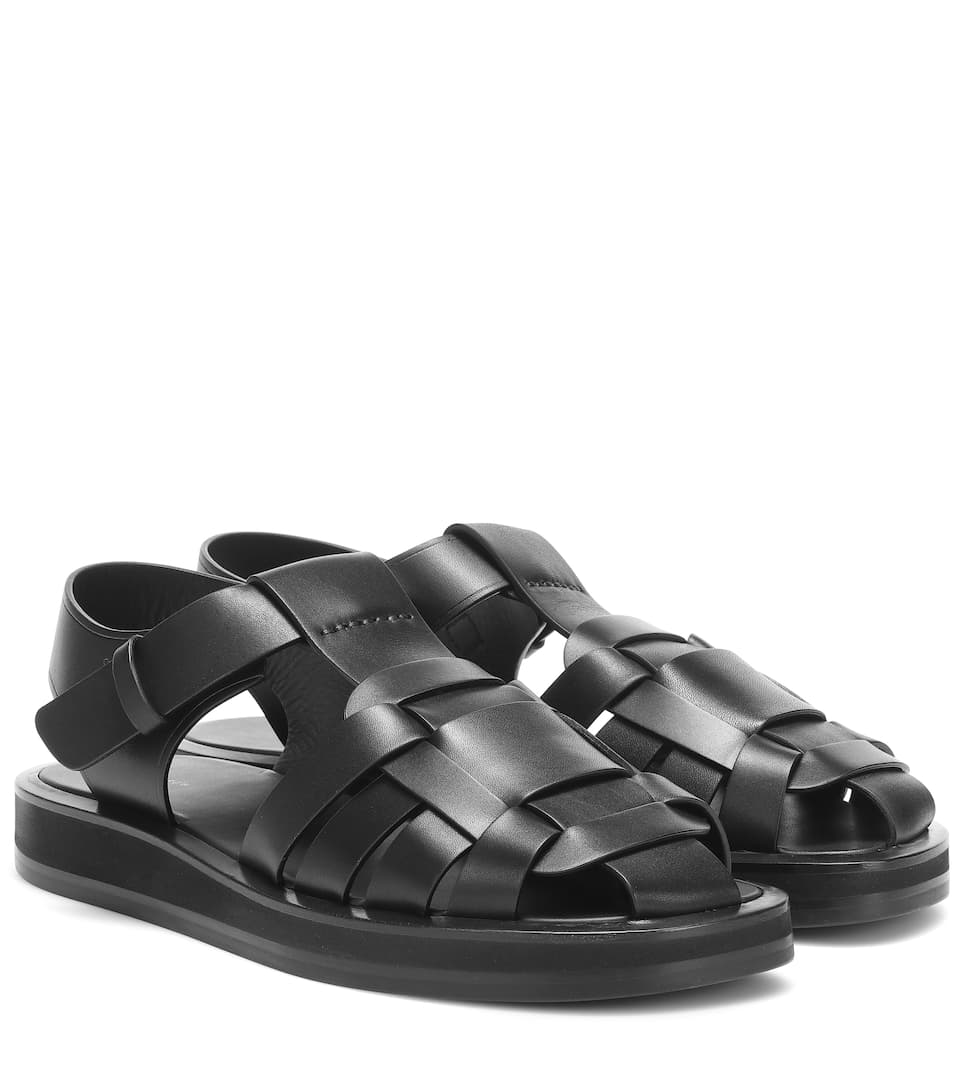 the-row-gaia-woven-leather-sandals-black