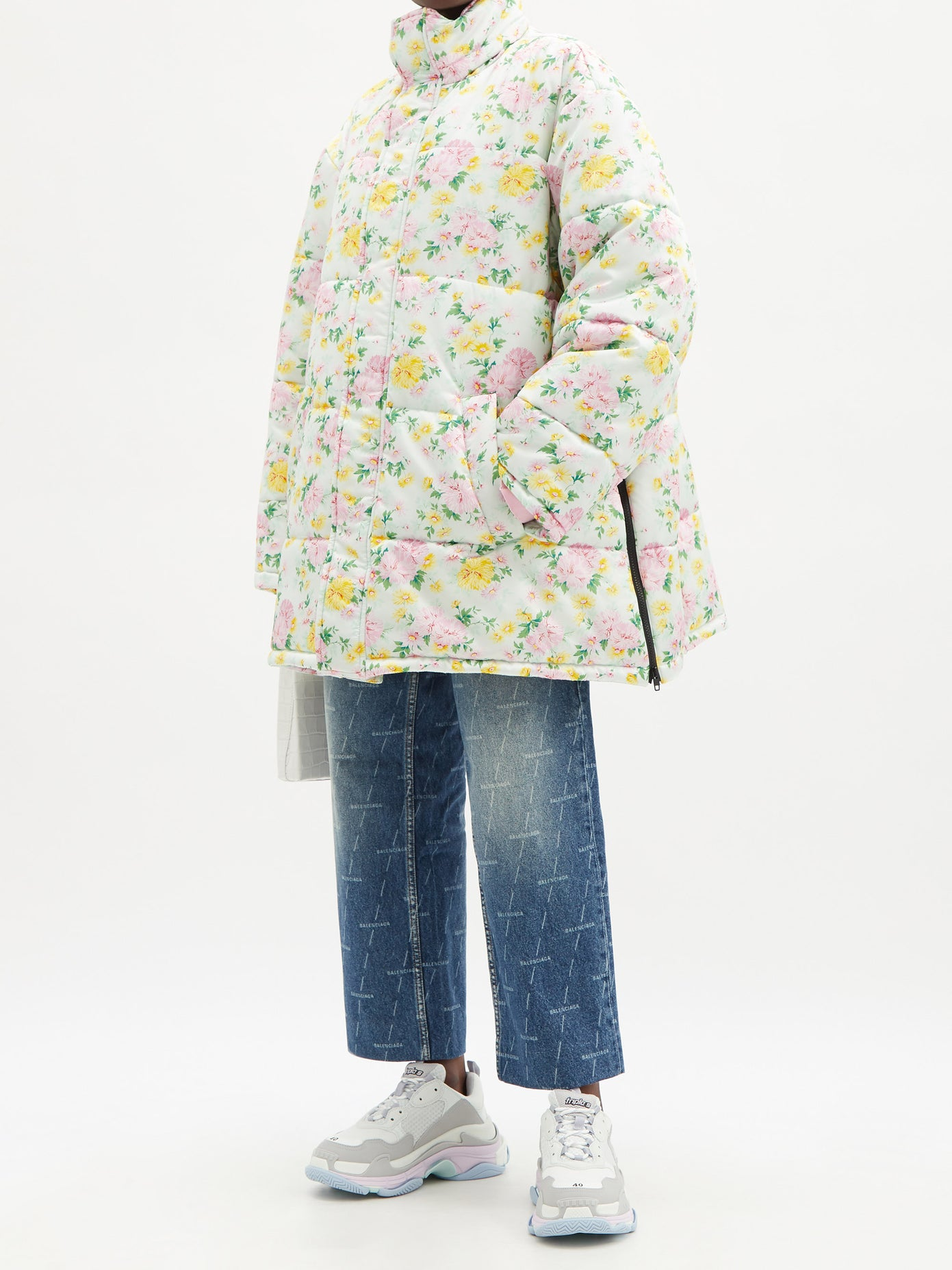 Balenciaga-Floral-print-quilted-shell-coat