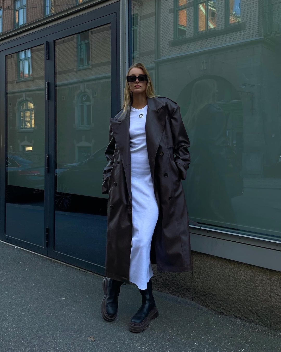 ellen-claesson-frankie-shop-double-breasted-faux-leather-trench-coat-in-java-instagram