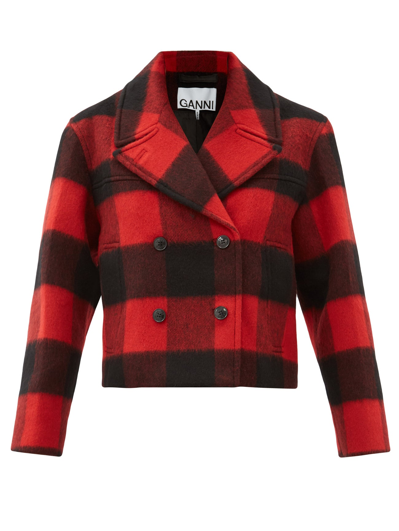 Ganni-Double-breasted-check-wool-blend-jacket