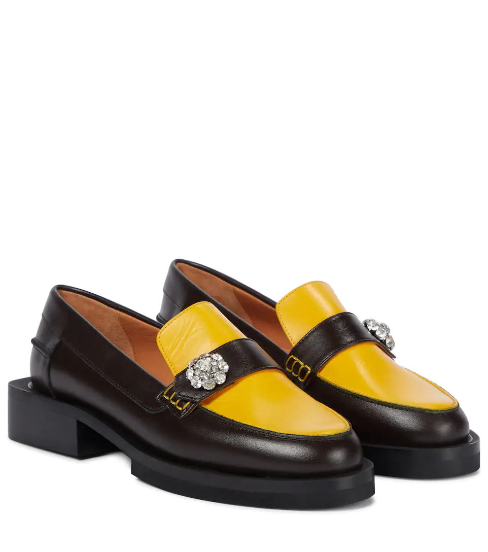 ganni-crystal-embellished-leather-loafers-yellow