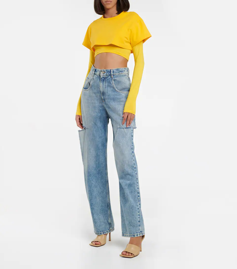 jacquemus-le-double-cropped-cotton-top-yellow