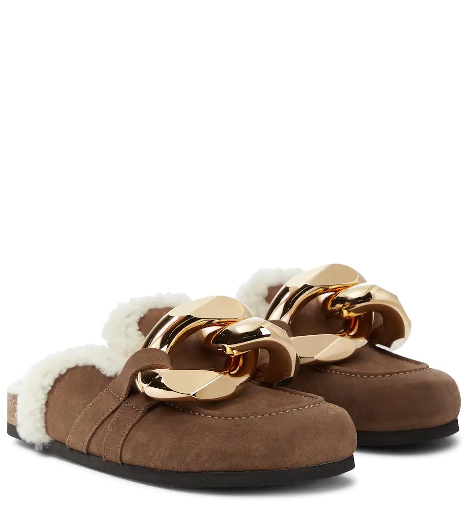 jw-anderson-shearling-chain-loafer-chocolate-brown