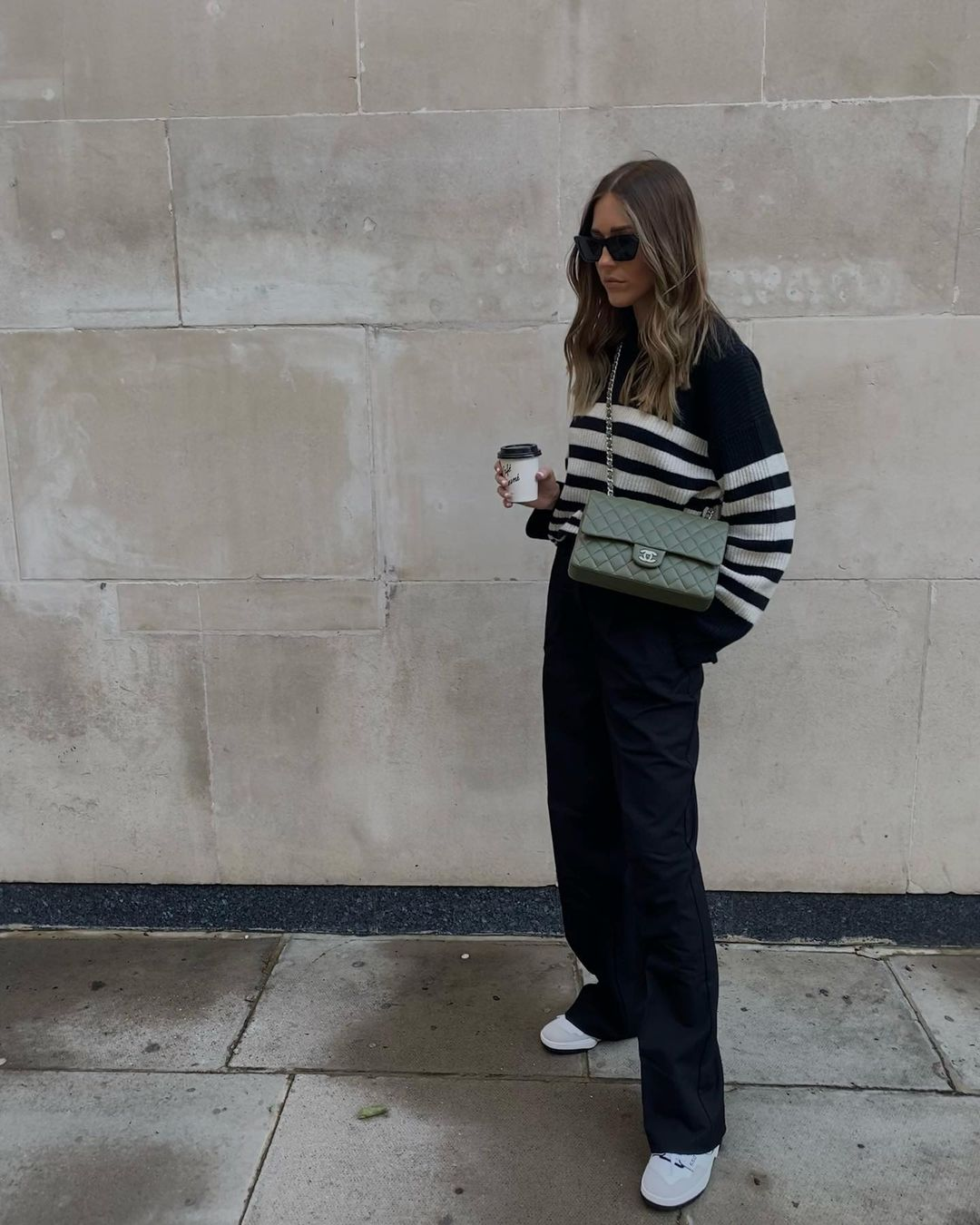 sophie-smith-massimo-dutti-striped-purl-knit-wool-sweater-instagram