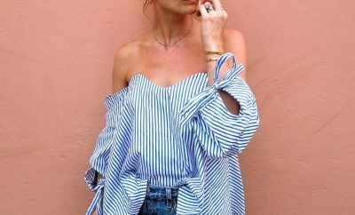 pandora-sykes-gabriella-top-off-the-shoulder-ruched-sleeves-ties-cuffs-by-caroline-constas